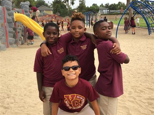 Friends are glad to be back together starting a new year of school!